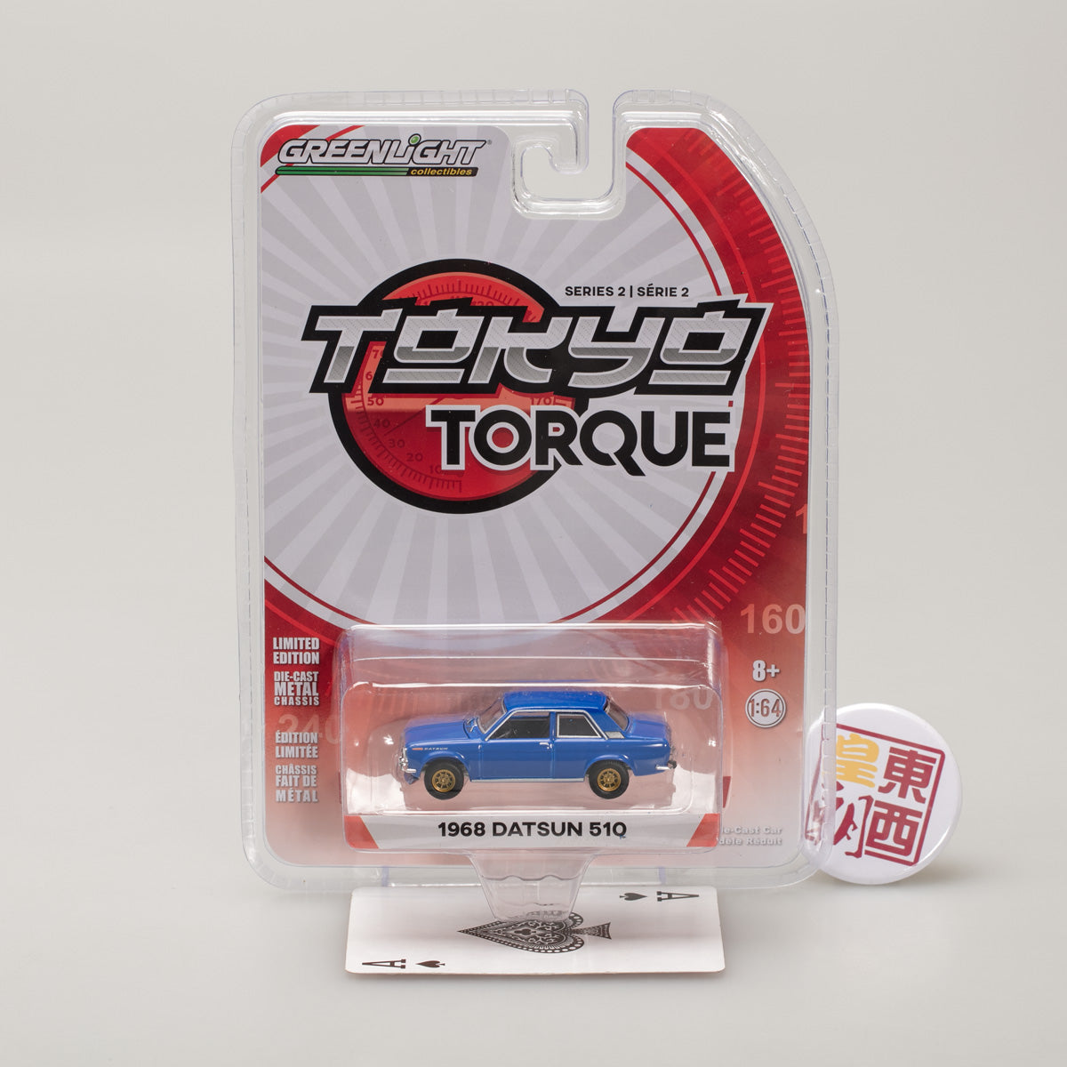GreenLight 1:64 Tokyo Torque Series 2 - 1968 Datsun 510 Street Racer - Blue with Gold Wheels 29900-A