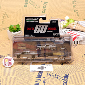 "GreenLight 1:64 Hollywood Hitch & Tow Series 3 - Gone in Sixty Seconds (2000) - 2015 Ford F-150 with 1967 Custom Ford Mustang ""Eleanor"" on Flatbed Trailer 31030-C"