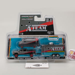GreenLight 1:64 Hollywood Hitch & Tow Series 5 - The A-Team (1983-87 TV Series) - 2015 Chevy Silverado with 1983 GMC Vandura with Bullet Holes in Enclosed Car Hauler 31060-B