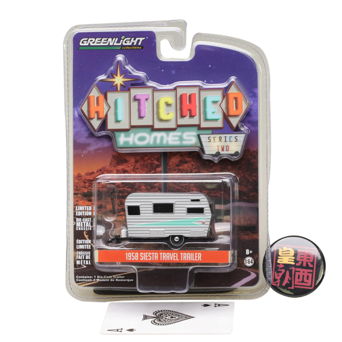 GreenLight 1:64 Hitched Homes Series 2 - 1958 Siesta - Silver Diecast Model Car 34020-A