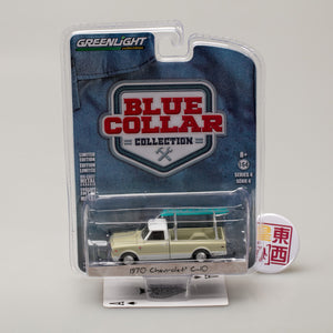 GreenLight 1:64 Blue Collar Collection Series 4 - 1970 Chevy C-10 with Ladder Rack 35100-B