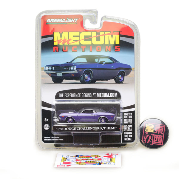 GreenLight 1:64 Mecum Auctions Collector Cars Series 1 - 1970 Dodge HEMI Challenger R/T - Purple with Black Stripes Diecast Model Car 37110-B
