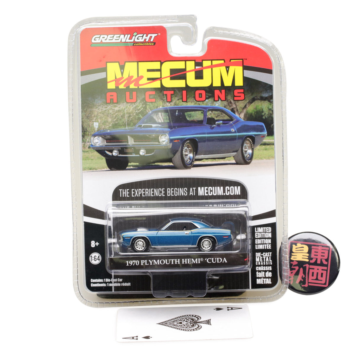GreenLight 1:64 Mecum Auctions Collector Cars Series 1 - 1970 Plymouth HEMI Cuda - Jamaica Blue Diecast Model Car 37110-D
