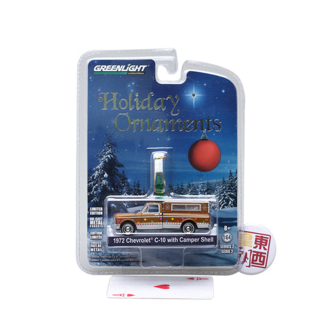 GreenLight 1:64 GreenLight Holiday Ornaments Series 2 - 1972 Chevrolet C-10 with Small Camper 37120-D