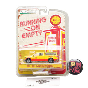 GreenLight 1:64 Running on Empty Series 3 - 2016 Ford F-150 with Camper Shell - Shell Oil Diecast Model Car 41030-E