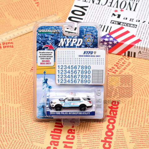 GreenLight 1:64 Hot Pursuit - 2016 Ford Interceptor Utility New York City Police Dept (NYPD) with NYPD Squad Number Decal Sheet 42772