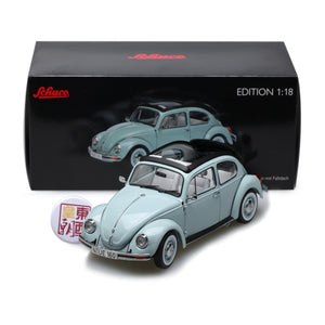 SCHUCO 1:18 Volkswagen Beetle 1600i Ultima Edition with folding roof aquarius blue 450029300