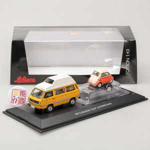 SCHUCO 1:43 Volkswagen Joker camping bus with trailer and BMW Isetta 450330300