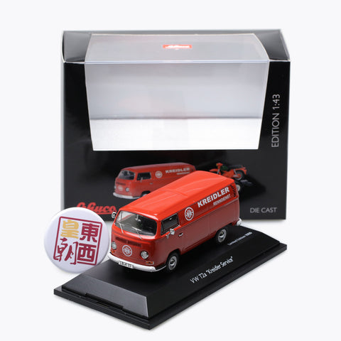 "SCHUCO 1:43 Volkswagen T2a ""Kreidler-Service"" box van with bike trailer and Kreidler Florett 450334000"