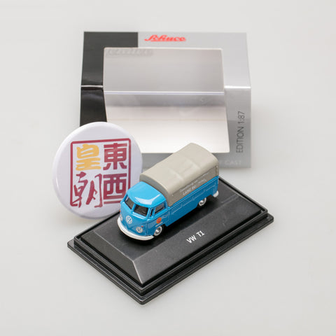 SCHUCO 1:87 Volkswagen T1c pick-up with tarpaulin Lanz blue 452634000