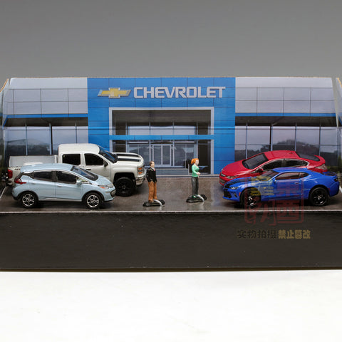 GreenLight 1:64 Motor World Multi-Car Dioramas - Modern Chevrolet Dealership Diecast Model Car 58034