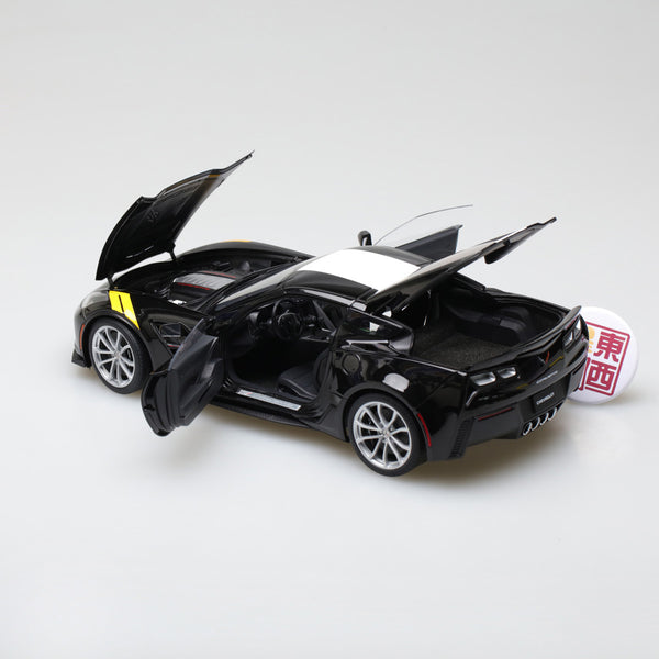 AUTOart 1:18 CHEVROLET CORVETTE GRAND SPORT (BLACK/WHITE STRIPES/YELLOW FENDER HASH MARKS) 71273