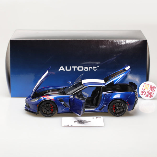 AUTOart 1:18 CHEVROLET CORVETTE GRAND SPORT (ADMIRAL BLUE/WHITE STRIPES/RED FENDER HASH MARKS) 71275