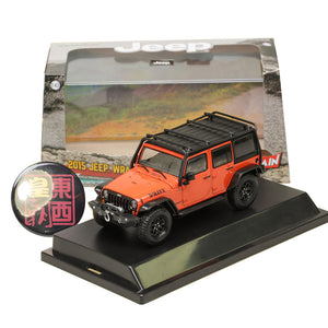 GreenLight 1:43 2015 Jeep Wrangler Unlimited Willy's Wheeler Edition - Sunset Orange Metallic with Off-Road Bumpers and Roll Cage Diecast Model Car 86088