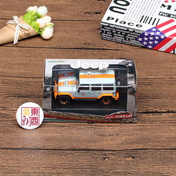 GreenLight 1:43 2015 Jeep Wrangler Unlimited - Gulf Oil with Off-Road Bumpers Diecast Model Car 86089