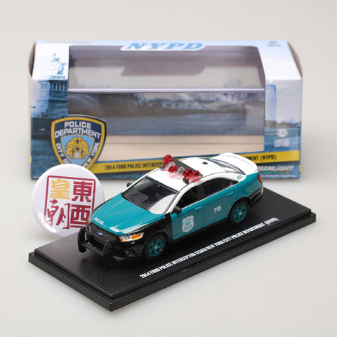 GreenLight 1:43 2014 Ford Police Interceptor Sedan - New York City Police Department (NYPD) Vintage Show Vehicle 86094