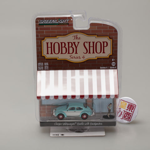 GreenLight 1:64 The Hobby Shop Series 4 - Classic Volkswagen Beetle with Backpacker 97040-F