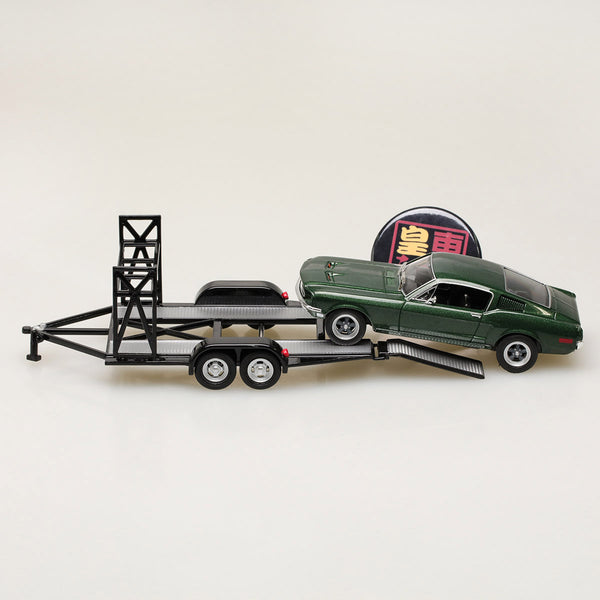 GMP 1:43 GMP Tandem Car Trailer with Tire Rack - Black Diecast Model Car GMP-14302
