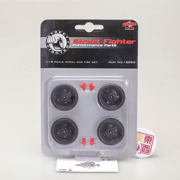 GMP 1:18 Street Fighter 5-Spoke Wheel and Tire Set - Satin Black (from GMP-18837) GMP-18890