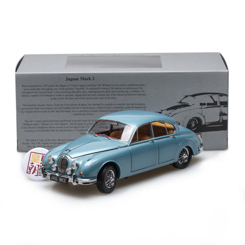 PARAGON 1:18 Jaguar MK II 1962 3.8 Opal Silver Blue (LHD) Diecast Model Car PA-98321L