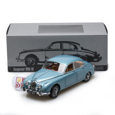 PARAGON 1:18 Jaguar MK II 1962 3.8 Opal Silver Blue (RHD) Diecast Model Car PA-98321R
