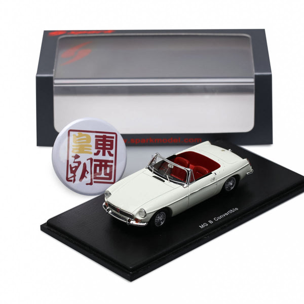 SPARK 1:43 BMC MGB MG B Cabriolet 1966 White Resin Model Car S4139