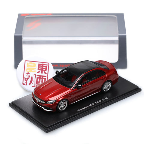 SPARK 1:43 Mercedes-Benz C63S AMG 2016 Metallic Red Resin Model Car S4914
