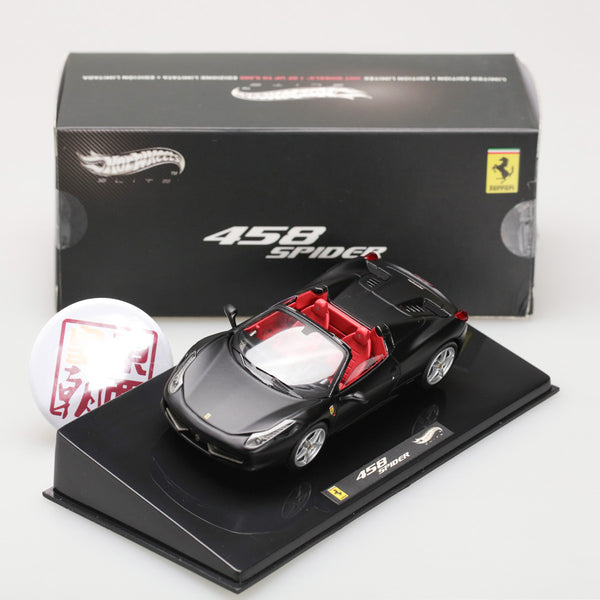 Hot Wheels Elite 1:43 FERRARI 458 ITALIA SPIDER BLACK W1184
