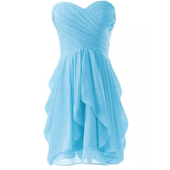 Mint Green Bridesmade Bandeau Short Chiffon Ruched Dresses