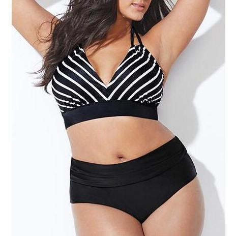 Sexy Plus Size Bikini Set For Woman Striped Swimwear Halter Swimsuit Backless Bathing Suit