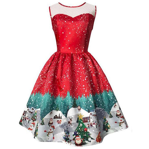 Vintage Christmas Dress Summer Sleeveless Print Party Elegant Pullover Dresses