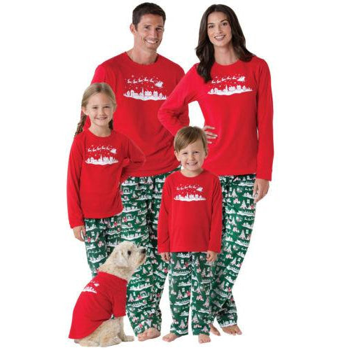 Christmas Family Matching Deer Pajamas Adult Women Kids Baby Sleepwear Set