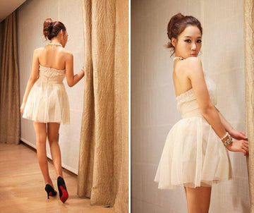 Halter Beading Tulle Empire Waist Sweet Homecoming Prom Dress