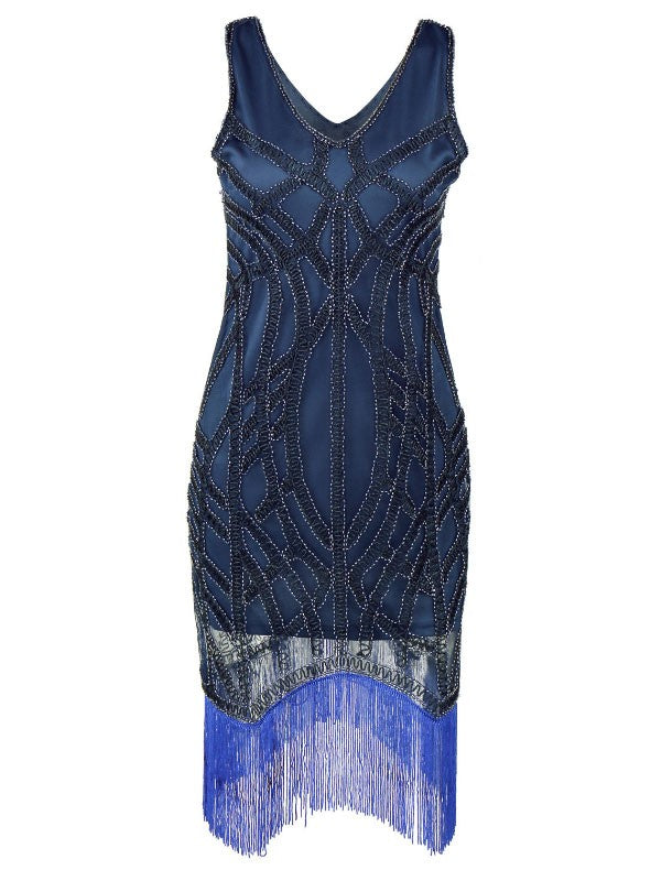 1920s Gatsby Blue Charleston Beads Fringed Cocktail Flapper Dress