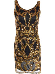 1920s Style Gold Black Sequin Sheer Short Flapper Dress