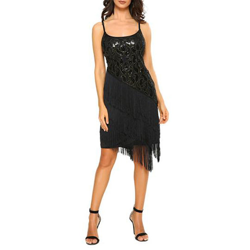 1920s Gold Black Vintage Sequins Gatsby Flapper Sleeveless Tassel Mini Dress