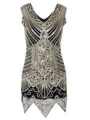 1920s Embellished Gatsby Art Deco Sequin Flapper Dress Female Sexy Mesh Dress