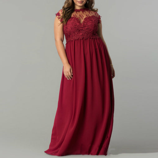 Plus Size Summer Sleeveless Mesh Lace Patchwork Loose Maxi Long Party Dress