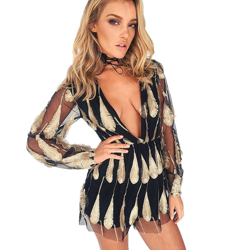 3D Embroidery Feather Transparent Mesh Long Sleeves Deep V Neck Black Sexy Rompers