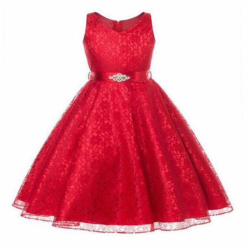 Red Flower Girl Dresses New Year Party Wedding Christmas Dress Sleeveless Lace Princess Clothes