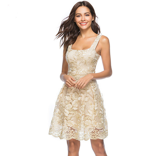 Elegant Party Square Neck Sleeveless A-line Lace Embroidery Summer Short Dress