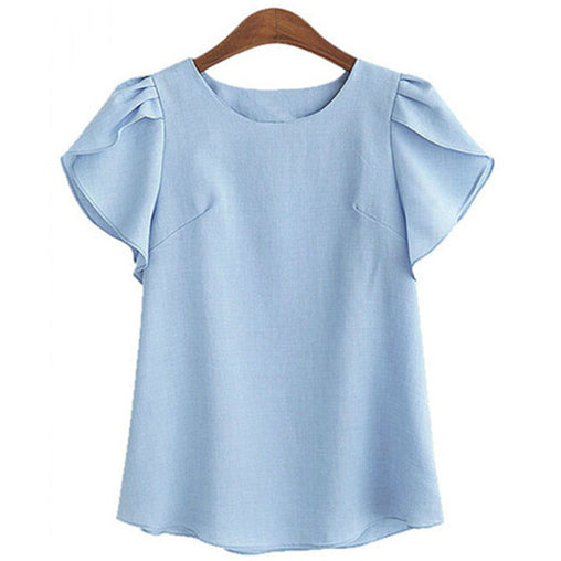 Casual O-Neck Ruffles Short Sleeve Chiffon Plus Size Blouse for Women