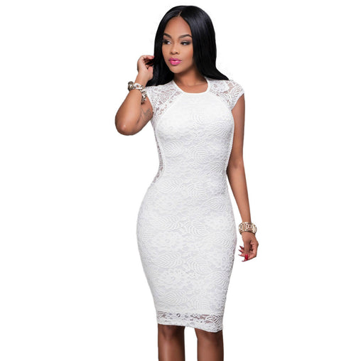 Summer Evening Bodycon Sheath Short Sleeve White Lace Dress