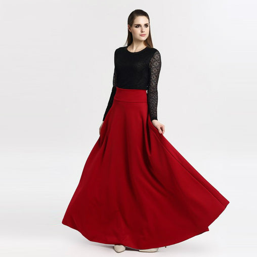 Womens High Waist Pleated Long Maxi Skirt Plus Size