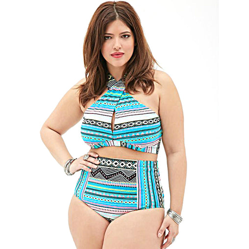 Plus Size High Waist Swimwear High Neck Cross Bikinis Two Piece Swimsuit Bathing Suit
