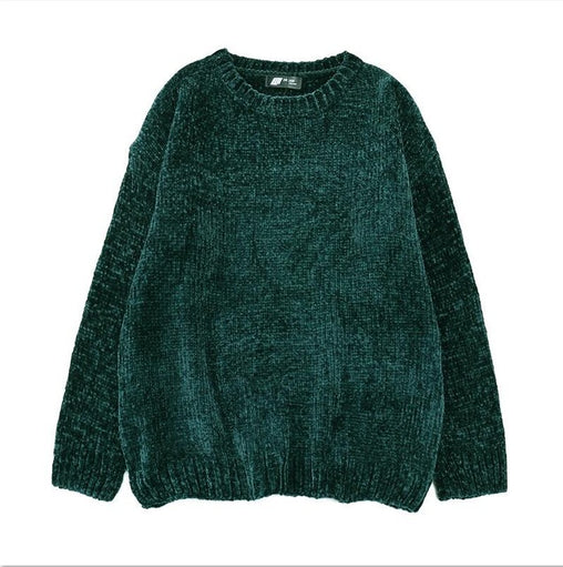 Thick Warm Round Neck Oversized Chenille Sweaters Long Sleeve Winter Autumn Pullovers