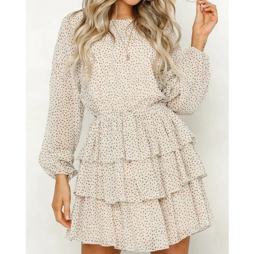 Chic Polka Dot Printed Party Dresses Long Sleeve Ruffled Layered Dresses