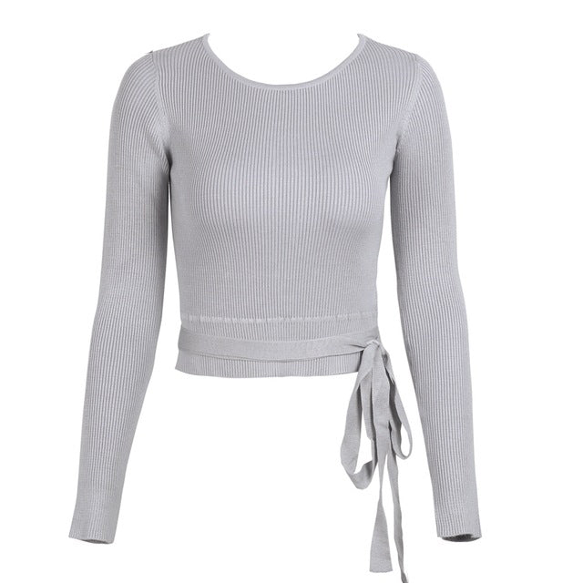 Casual Tie up Knitted Skinny Knitting Jumper Crop Top Winter Sweater  Pullover 697cac7cb