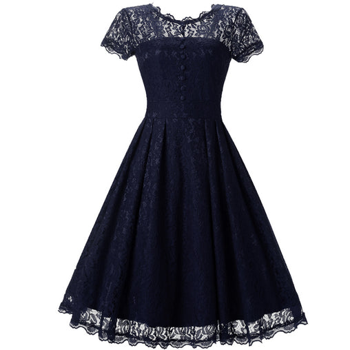 Vintage 1950s Rockabilly Short Sleeve Hepburn Style V-Back Swing Summer Lace Dress