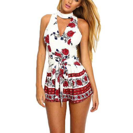 Red Floral Print Summer Style Halter Short Bow Beach White Rompers